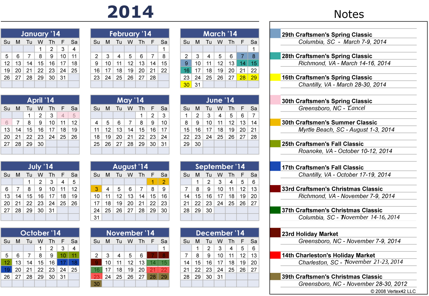 2014 Calendar with Holidays